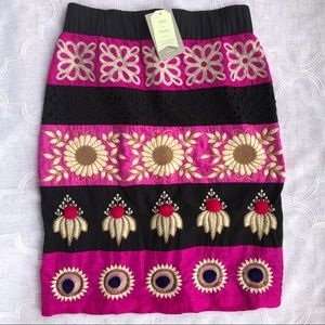 Anthropologie Embroidered Catrina Skirt